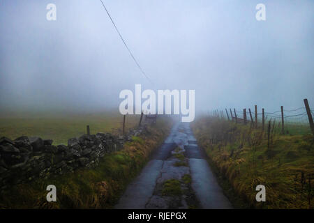 Farm Track leading to farm fields smothered in fog near Belthorn, Lancashire, England. - Stock Photo