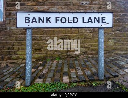 Bank Fold Lane Street Sign in a village near Belthorn, Lancashire, England. - Stock Photo