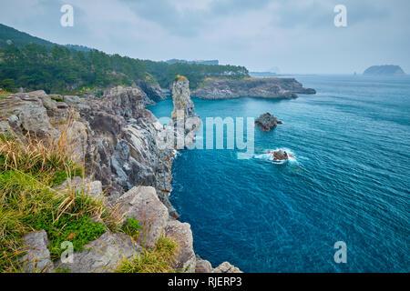 Oedolgae Rock, Jeju island, South Korea - Stock Photo