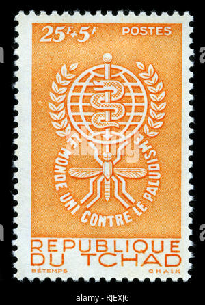 Postmarked stamp from Chad in the Fight against Malaria series issued in 1962 - Stock Photo