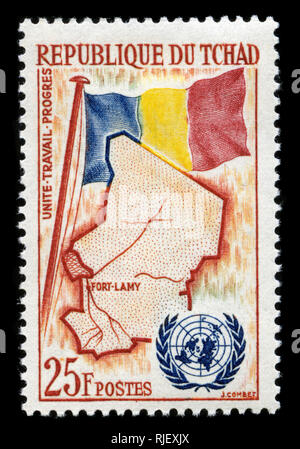 Postmarked stamp from Chad in the UN (United Nations) Membership series issued in 1961 - Stock Photo