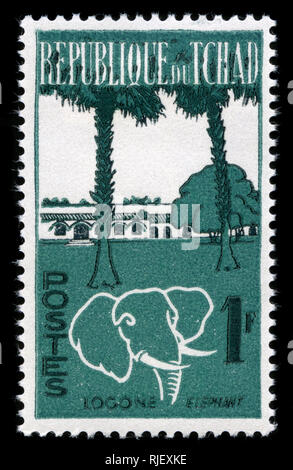 Postmarked stamp from Chad in the Animals and Landscapes series issued in 1962 - Stock Photo