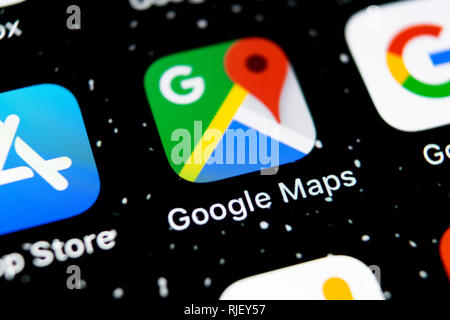 Sankt-Petersburg, Russia, February 3, 2019: Google Maps application icon on Apple iPhone X screen close-up. Google Maps icon. Google maps application. - Stock Photo