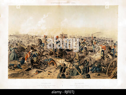 Print shows a vastly outnumbered British Light Brigade cavalry engaging Russian soldiers at the artillery battery at the end of the valley during the disasterous charge of Light Brigade at Balaklava, Ukraine, during the Crimean War. - Stock Photo