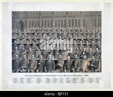 Print shows, from back to front, 1. Alexander Blane, 2. J.D. Sheehan, 3. Sir Joseph N. M'Kenna, 4. Donal Sullivan, 5. Patrick O'Hea, 6. Dr. Fox, 7. Joseph Nolan, 8. Edw. Harrington, 9. J.F. Smithwick, 10. William O'Brien, 11. E. Mulhallen Marum, 12. Thomas O'Hanlon, 13. James Leahy, 14. P.J. Foley, 15. J.F.X. O'Brien, 16. J.L. Carew, 17. John Finucane, 18. J. O'Connor, Lord Mayor, 19. Dr. Andrew Commins, 20. Edward Shiel, 21. James E. O'Doherty, 22. Michael Conway, 23. P. M'Donald, 24. Laurence Connolly, 25. Henry J. Gill, 26. Kevin Izod O'Doherty, M.D., 27. Bernard Kelly, 28. John Stack, 29.  - Stock Photo