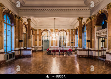 Brussels, Belgium - 02 02 2019: Interior of the main mirror hall with gold foil decoration - Stock Photo