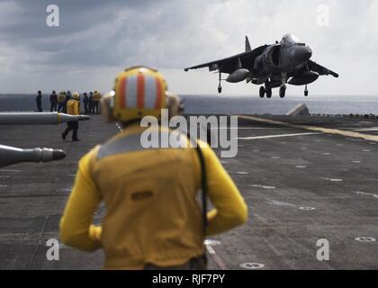 An AV-8B Harrier II lands on the flight deck of USS Boxer. (28252389134). - Stock Photo