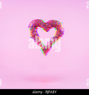 Glitter heart on pink background.  Valentines day and love concept. Square. Glitch effect, colorful disruptive - Stock Photo