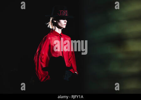 Barcelona, Spain. 6 February, 2019:  A model walks the runway at the Jnorig fashion show presenting the new 'Complex Minimalism' collection during 080 Barcelona Fashion Week Credit: Matthias Oesterle/Alamy Live News - Stock Photo
