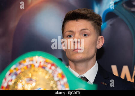 London, UK. 6th Feb 2019. Charlie Edwards during  Edwards vs Moreno - WBC World Flyweight Title Press Conference at Grange City Hotel on Wednesday, 06 February 2019. LONDON, ENGLAND. (Editorial use only, license required for commercial use. No use in betting, games or a single club/league/player publications.) Credit: Taka G Wu/Alamy News - Stock Photo