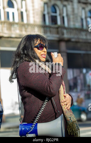 Belfast City Hall, Belfast, UK. 6th Feb, 2019. Chamindra Weerawardhana from Black Lives Matter Belfast was one of the speakers at the Migrant Rights protest who gathered outside Belfast City Hall. The Protest was in Solidarity with the Stansted 15 Activists and to Protest the British Government's 'Hostile Environment' Immigration Policies. the follwing speakers were present: Aylisha Hogan PPR Olivia Potter-Hughes NUS-USI Barry McCaffery and Trevor Birney Patrick Mulholland - NIPSA President Nombuso Sithole - Housing4All Patrick Corrigan - Amnesty International Credit: Bonzo/Alamy Live News - Stock Photo