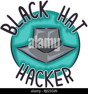 Illustration of a Black Hat with Black Hat Hacker Icon - Stock Photo