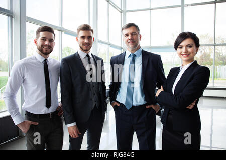 business and office concept - happy business team in office. - Stock Photo