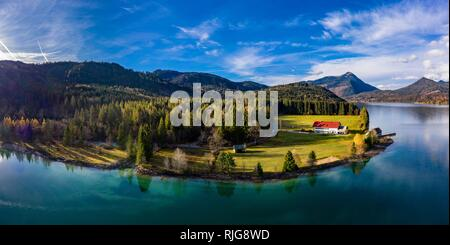 Drone shot, Walchensee surrounded by foothills of the Alps, Upper Bavaria, Bavaria, Germany - Stock Photo
