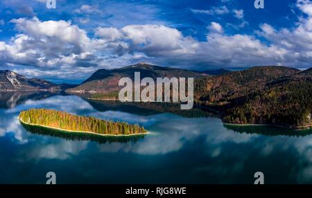 Drone shot, Sassau Island in Walchensee, Alpine foothills, Upper Bavaria, Bavaria, Germany - Stock Photo