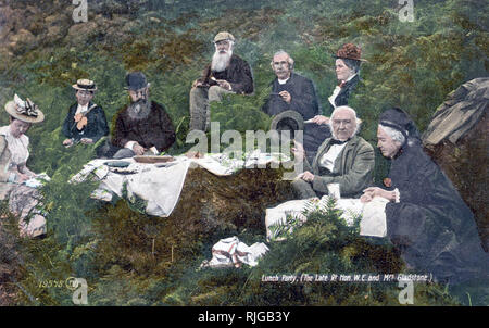 WILLIAM GLADSTONE (1809-1898) British Liberal politician and statesman at right with his wife Catherine and a picnic party about 1870 - Stock Photo
