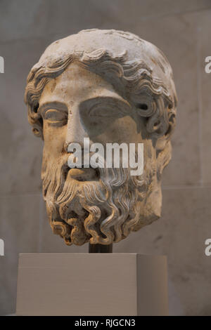 Roman art. Imperial era. Head from herm. Marble. 1st-2nd century. Copy of a Greek herm of ca. 450-525 BC. The Met. NY. USA. - Stock Photo