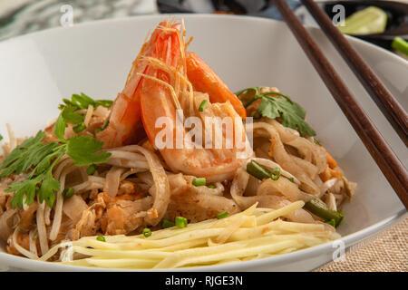 Pad Thai. Thai style noodles. Thai food. - Stock Photo