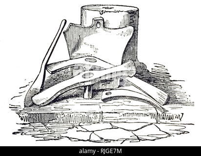 An engraving depicting a builder's tools found buried under ash in Pompeii. Dated 19th century - Stock Photo