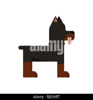 Doberman is stand. Pedigree dog. Vector illustration. Flat icon. Tongue out - Stock Photo