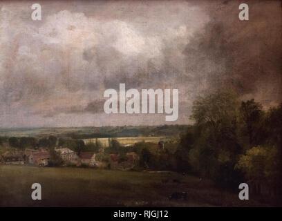 John Constable (1776-1837), Higham Village on the River Stour, ca. 1804. Higham Village am Flusse Stour. Alte Nationalgalerie, Berlin. - Stock Photo