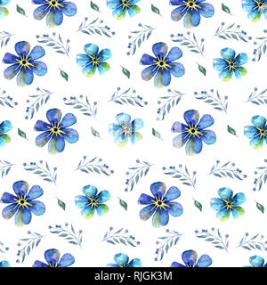 Seamless hand painting Watercolor pattern with blue forget-me-nots flowers on a white background illustration - Stock Photo