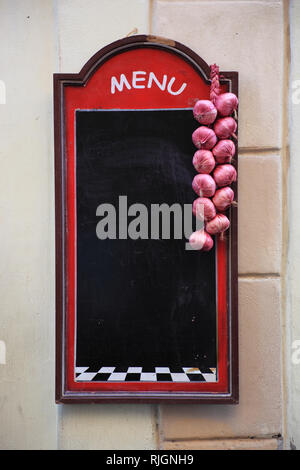 empty, blank, unlabeled menu board at a restaurant at the Campo de fiori, Rome, Italy - Stock Photo