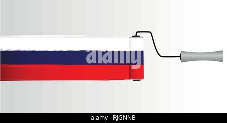 painting with roller colors of russia flag vector illustration - Stock Photo