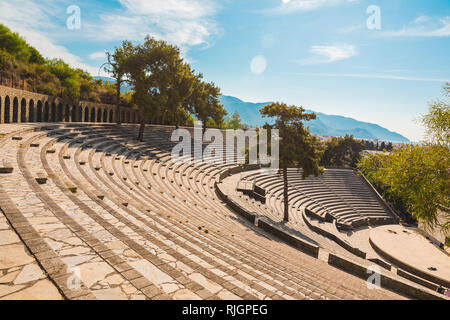 Panoramic view of old amphitheater in Marmaris Town. Reconstructed open-air stone theater. Marmaris is popular tourist destination in Turkey - Stock Photo