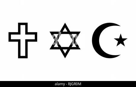 A set of religious symbols on white background - Stock Photo