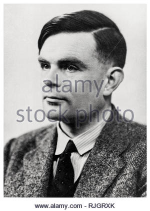 Alan Turing (1912-1954) circa 1947. British mathematician and genius, inventor of the Turing machine, best remembered for the leading role he played in codebreaking the Nazi Enigma ciphering system at Bletchley Park during World War 2. - Stock Photo