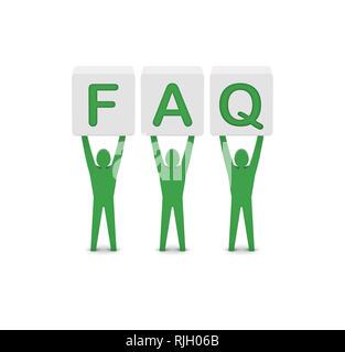 Men holding the word faq. Concept 3D illustration. - Stock Photo