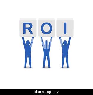 Men holding the word ROI. Return On Investment. Concept 3D illustration. - Stock Photo