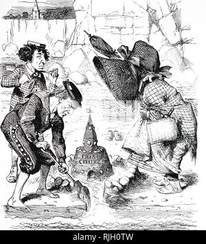 A cartoon commenting on William Ewart Gladstone's disestablishment of the Irish church. William Ewart Gladstone (1809-1898) a British statesman of the Liberal Party who served as Prime Minister of Great Britain. Illustrated by John Tenniel (1820-1914) an English illustrator, graphic humourist, and political cartoonist. Dated 19th century - Stock Photo
