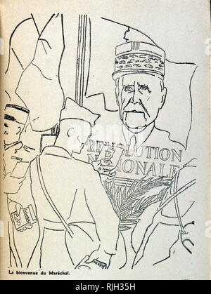 illustration of soldiers looking at portrait of General Petain in Occupied France. Drawn by Antoine de Roux 1940 - Stock Photo
