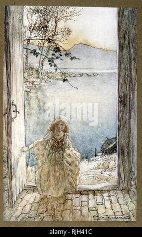 Illustration by Arthur Rackham 1910 depicting, Ondine (Undine), a fairy-tale novella by Friedrich de la Motte Fouque; in which Undine, a water spirit, marries a knight named Huldebrand in order to gain a soul. It is an early German romance - Stock Photo