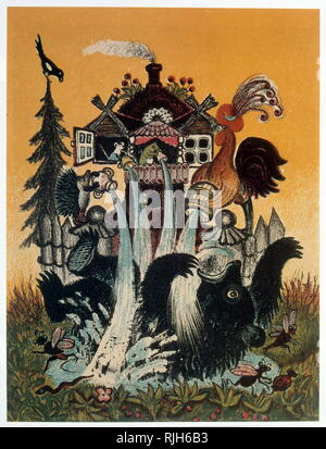 The Cockerel, squirrel, mouse and Frog and the bear. Based on a children's story. 1941, by Yuri Vasnetsov (1900-1973), Soviet painter and graphic artist. His work was closely linked with the traditions of Russian folk art. - Stock Photo