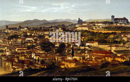 View of Granada with the Alhambra palace 1860. Lithograph by Leyroy - Stock Photo