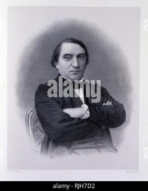 engraving of Joseph Ernest Renan (1823 – 1892), French expert of Semitic languages and civilizations (philology), philosopher, historian, and writer, devoted to his native province of Brittany. He is best known for his influential historical works on early Christianity, and his political theories, especially concerning nationalism and national identity. - Stock Photo