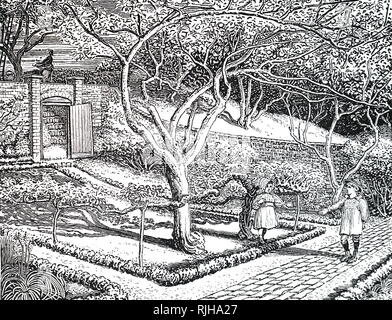 An engraving depicting children playing in an October garden. Dated 19th century - Stock Photo