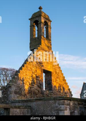 Gladsmuir old parish church ruins and precarious bell tower at dusk twilight, East Lothian, Scotland, UK - Stock Photo