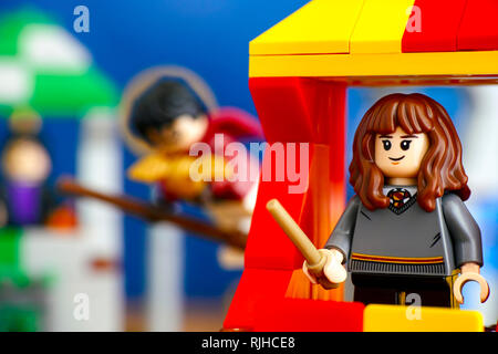 Tambov, Russian Federation - January 20, 2019 Quidditch Match Lego Harry Potter play set. Hermione Granger minifigure on Gryffindor house tower. - Stock Photo