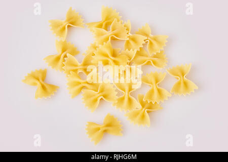 bow tie pasta  isolated on white background, top view. Farfalle Pasta - Stock Photo
