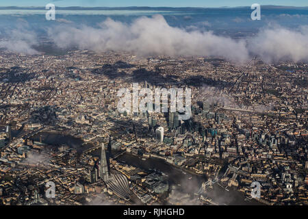 Aerial view of central London looking North over the Shard - Stock Photo