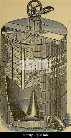 . The bee-keepers' guide; or, Manual of the apiary. Bees. IMPROVED HONEY EXTRACTOR. 1888—New York. Our Honey Extractors Have always received the highest awards at all places where they have been placed on exhibition, and they have been exhibited in competition with every Extractor of any reputation in the United States. First prem;ums were award- ed them at the Michigan State Fair, in 1879, and again at same Fair in 1S80 and 1881. First premium at North-Eas- tern Bee-Keepers' Conven- tion, Feb. 11th to 13th, 1880. Also, 1881 and 1882. First premium at Queens County Agricultural Society, (large - Stock Photo
