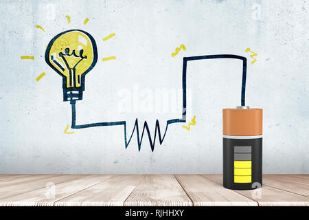 3d rendering of animated half charged battery with a drawn circuit diagram to a drawn lightbulb - Stock Photo