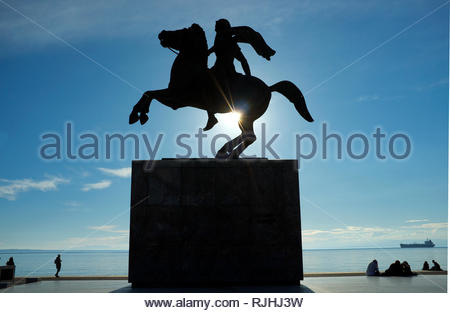 Alexander the Great statue, by the waterfront in the city of Thessaloniki, Central Macedonia, Greece. - Stock Photo