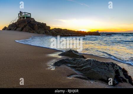 Vila do Conde, Portugal - January 03, 2019 : Sunset Miradouro, Touristic beach, Porto District, Portugal - Stock Photo