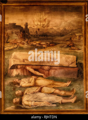 Basilica of St. Stephen in the Round on the Celian Hill, Basilica di Santo Stefano al Monte Celio, an ancient basilica and titular church in Rome, Italy, frescoes, portraying scenes of martyrdom - Stock Photo