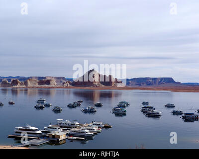 Boats  at Lake Powell during early morning, spring 2015 - Stock Photo